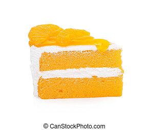A piece of Orange cake on white background