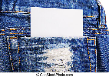 A piece of paper in the pocket of jeans trousers.