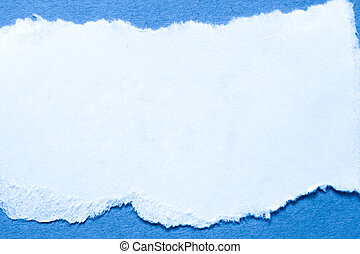 A piece of paper on blue