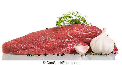 A piece of raw beef, spices, garlic and dill isolated on white.