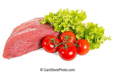 A piece of raw beef, tomato and lettuce leaves isolated on white.