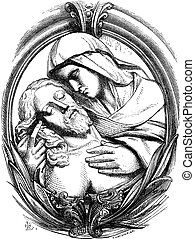 A pieta is the Hospice of Genoa, a medallion attribute Michelangelo. Drawing Chevignard, vintage engraved illustration. Magasin Pittoresque 1874.