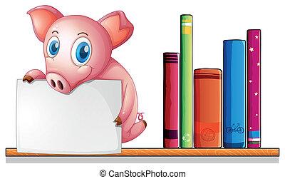 A pig above a shelf holding an empty signboard -...