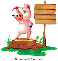 A pig above a stump near the empty signage