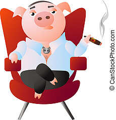 A pig-boss is sitting in a red armchair and smokes