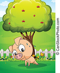 A pig exercising below the cherry tree - Illustration of a...