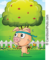 A pig exercising near the tree