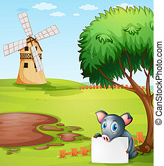 A pig holding an empty paper in front of a farm