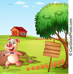 A pig in the farm near the empty signboard - Illustration of...