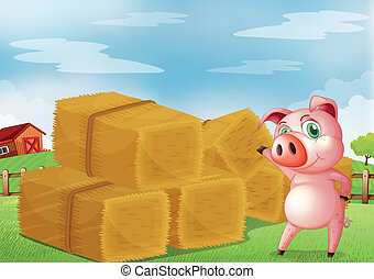 A pig pointing the farm crops