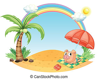 A pig relaxing at the beach