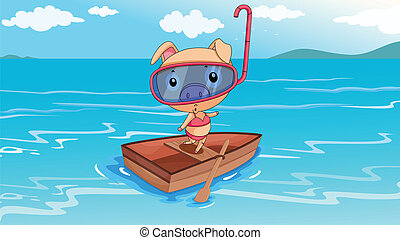 A pig riding on a boat