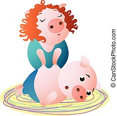 A Pig specialist makes massage to client. Female