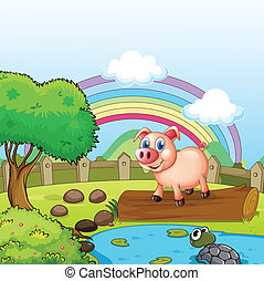 A pig standing above the trunk with a turtle at the pond