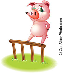 A pig standing above the wooden fence