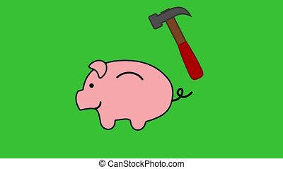 a piggy bank broken by a hammer on a green background ?...