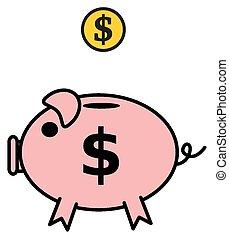 a piggy bank dollar