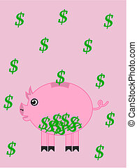 a piggy bank on a background of dol