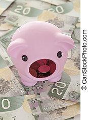 A piggy bank on dollars