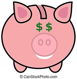 a piggy bank with dollar eyes