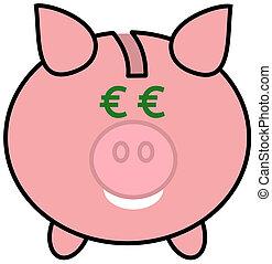 a piggy bank with euro eyes