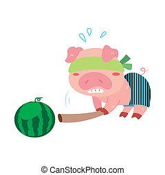 a pig's beach activities - a cute pig is playing a beach ...