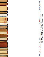 A pile of books isolated on white background - A pile of...