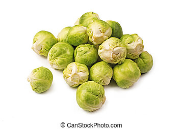 Brussels sprouts on a white