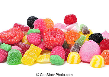 candies - a pile of candies on a white background