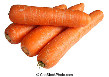 A pile of carrots isolated on a white background.