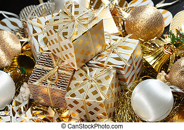 A pile of Christmas gifts