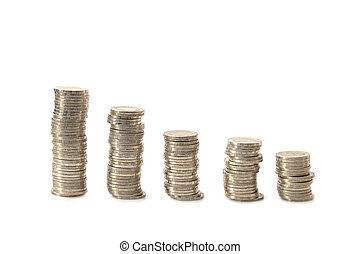 A pile of coins Separately