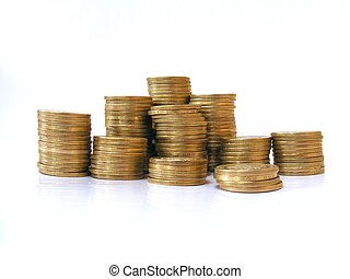 A pile of coins shot on a white background