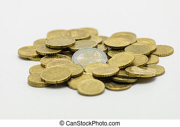 A pile of coins, the European currency 2 EURO. Isolated on white background with clipping path.