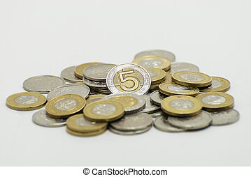 A pile of coins, the Polish currency 1, 2, 5 PLN / Polish zloty. Isolated on white background with clipping path.