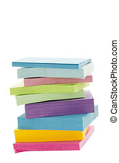 a pile of colorful adhesive paper