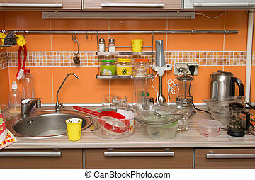 A pile of dirty dishes in the kitchen