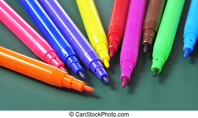 felt-tip pens of different colors