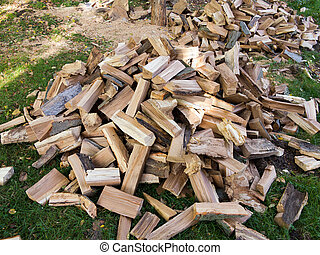 firewood - A pile of firewood - supplies for the winter
