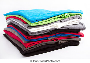 T shirts - A pile of folded T shirts