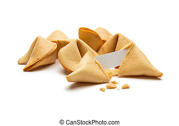 fortune cookies with note and crumbs - A pile of fortune ...