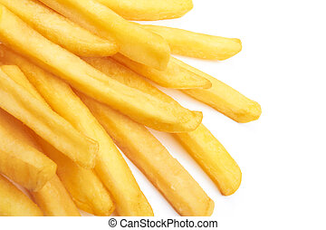 french fries - a pile of french fries isolated on white