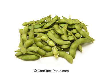 A pile of fresh soybeans on white