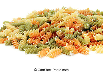a pile of fusilli isolated on a white background