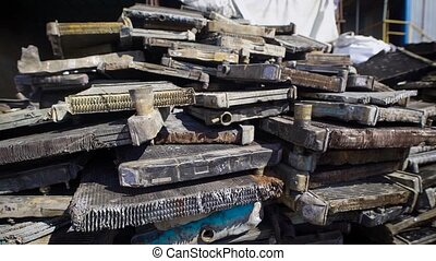 A pile of garbage dumped in one place in a landfill, details...