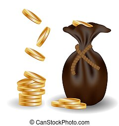 A pile of gold coins and a leather bag