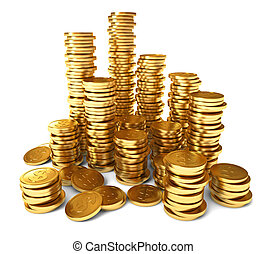 A pile of gold coins. Conceptual illustration. Isolated on white background. 3d render