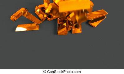 A pile of golden bullions falling down.