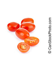grape tomatoes - A pile of grape tomatoes with tomato sliced