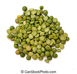 a pile of green split pea on white background